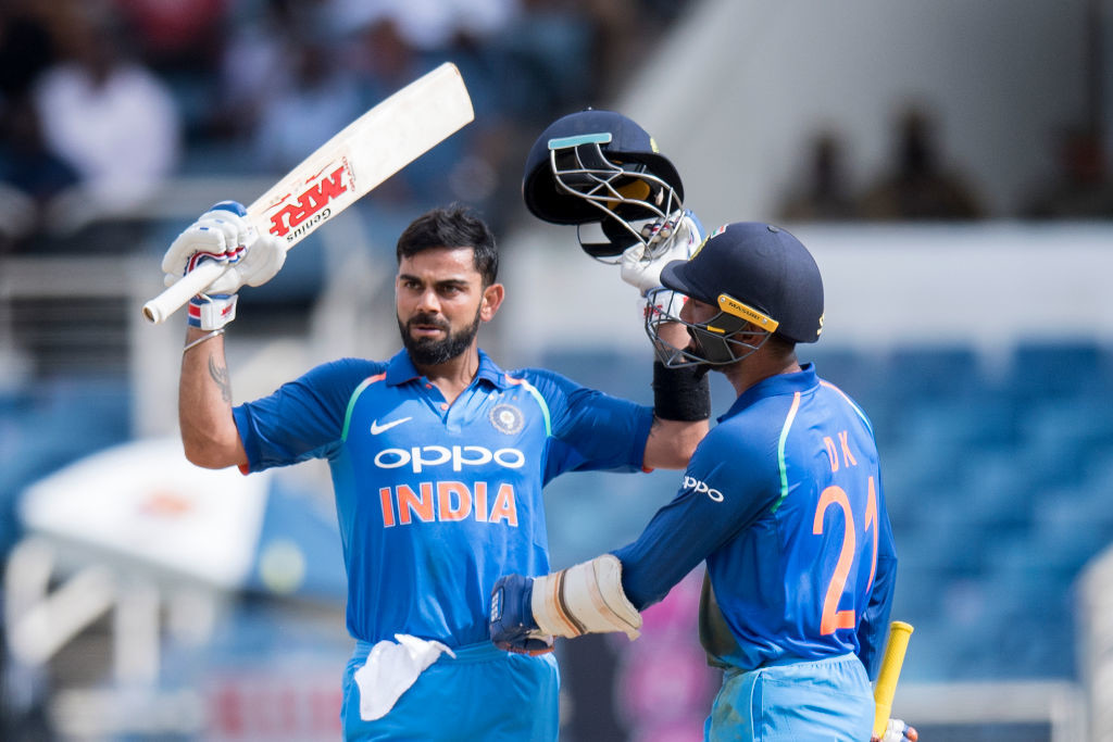 Kohli celebrated his century in the 5th ODI against the West Indies.
