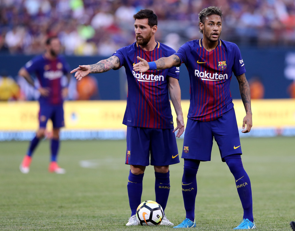 Messi and Neymar during pre-season for Barcelona