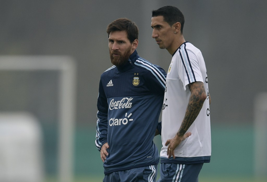Lionel Messi with Angel Di Maria on international duty