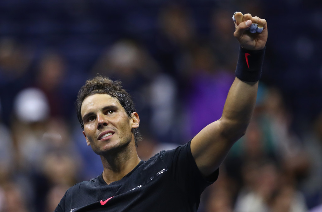 NEW YORK, NY - AUGUST 31: Rafael Nadal of Spain celebrates victory against Taro Daniel of Japan in their second round Men's Singles match on Day Four of the 2017 US Open at the USTA Billie Jean King National Tennis Center on August 31, 2017 in the Flushing neighborhood of the Queens borough of New York City. (Photo by Clive Brunskill/Getty Images)