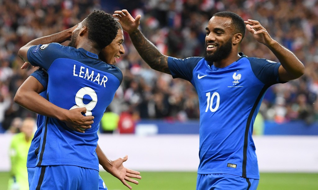 Arsenal striker Alexandre Lacazette with Gunners targets Mbappe and Lemar
