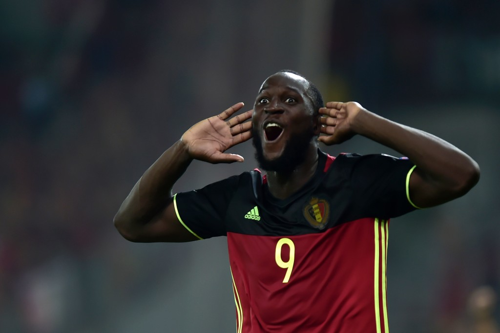 Romelu Lukaku celebrates his winner against Greece