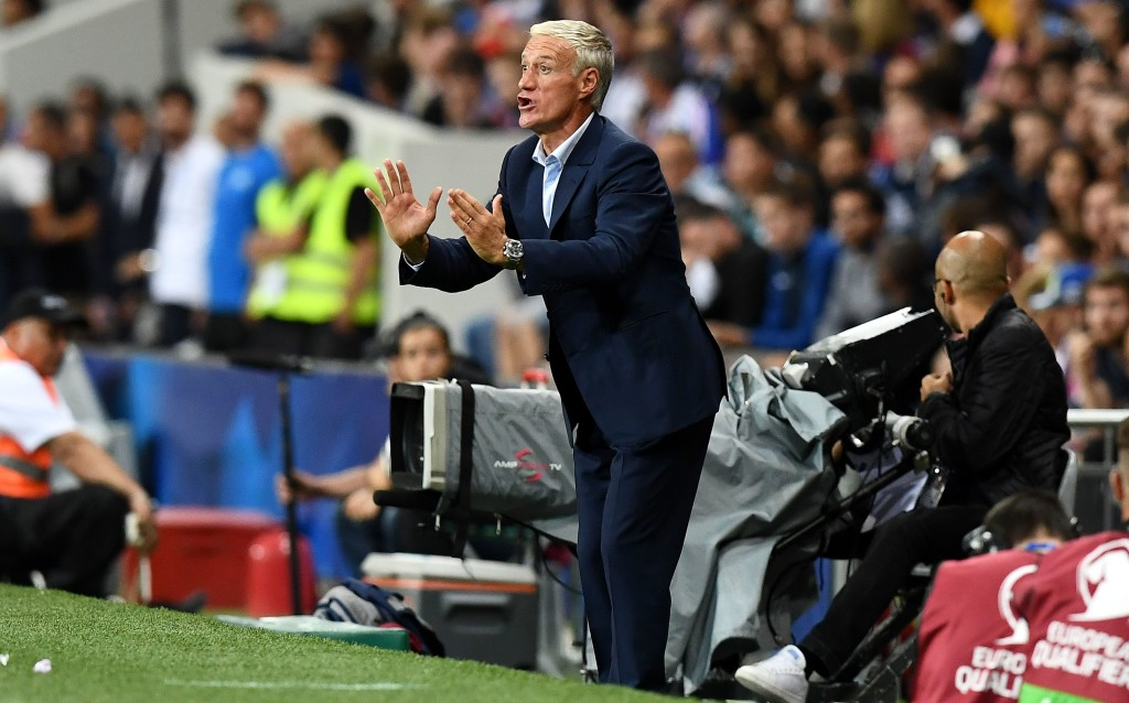 France's head coach Didier Deschamps gestures as he shouts instructions to his players during the FIFA World Cup 2018 qualifying football match France vs Luxembourg at The Municipal Stadium in Toulouse, southern France, on September 3, 2017. / AFP PHOTO / FRANCK FIFE (Photo credit should read FRANCK FIFE/AFP/Getty Images)