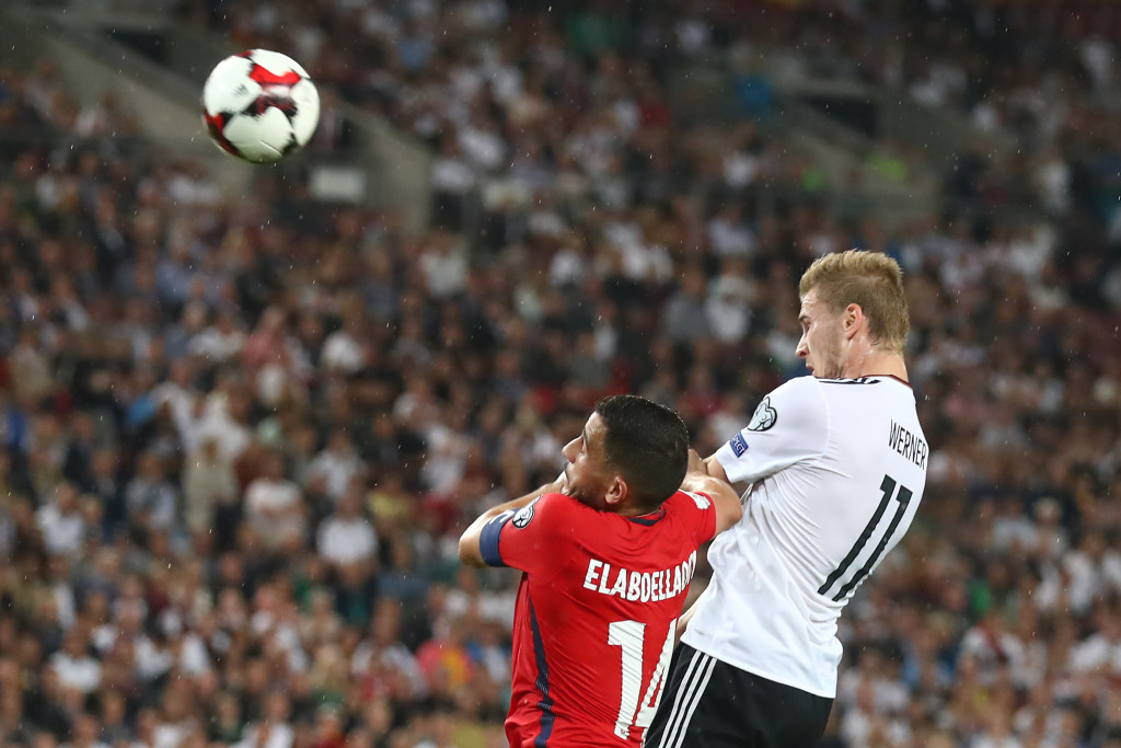 Germany star Timo Werner heads home his side's fourth against Norway