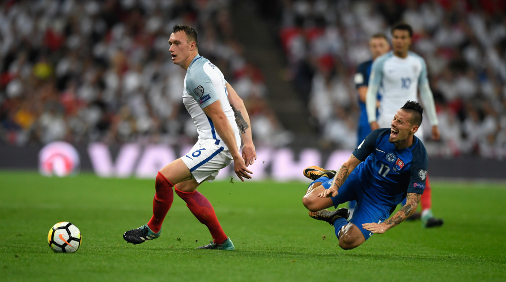 A Three Lion: Phil Jones for England (Getty).