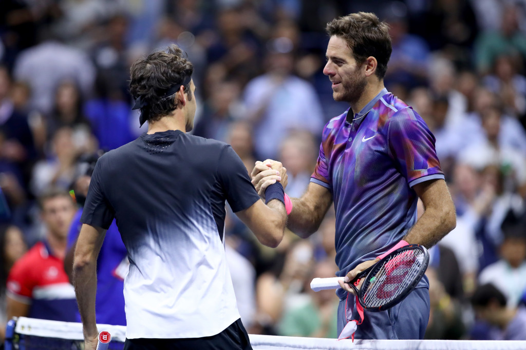 Juan Martin del Potro (R) after beating Roger Federer