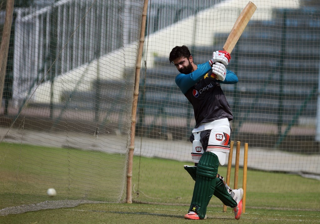 Pakistan cricketer Ahmed Shehzad bats during a practice session at the Gaddafi Cricket Stadium in Lahore on September 8, 2017, for the forthcoming World XI tour to Pakistan. The World XI will be led by South African skipper Faf du Plessis and will have 13 other players from seven Test playing countries. The three-match series will start from September 12 with the remaining two matches scheduled to take place on September 13 and September 15. / AFP PHOTO / AAMIR QURESHI        (Photo credit should read AAMIR QURESHI/AFP/Getty Images)