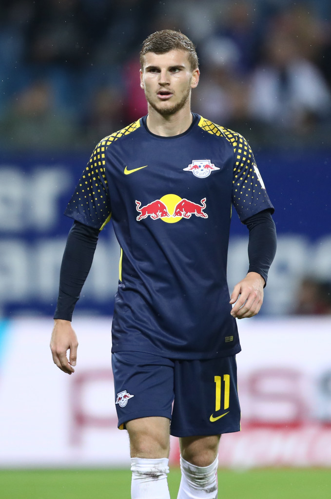 HAMBURG, GERMANY - SEPTEMBER 08: Timo Werner of Leipzig in action during the Bundesliga match between Hamburger SV and RB Leipzig at Volksparkstadion on September 8, 2017 in Hamburg, Germany. (Photo by Oliver Hardt/Bongarts/Getty Images)
