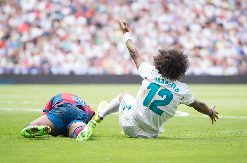The foul which got Marcelo sent off