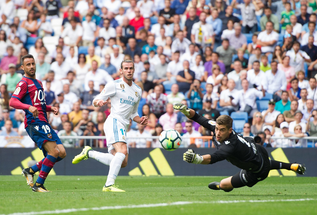 Gareth Bale has his shot saved by Levante stopper Raul Fernandez