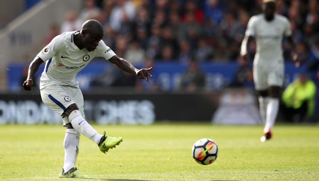 N'Golo Kante scores Chelsea's second goal.
