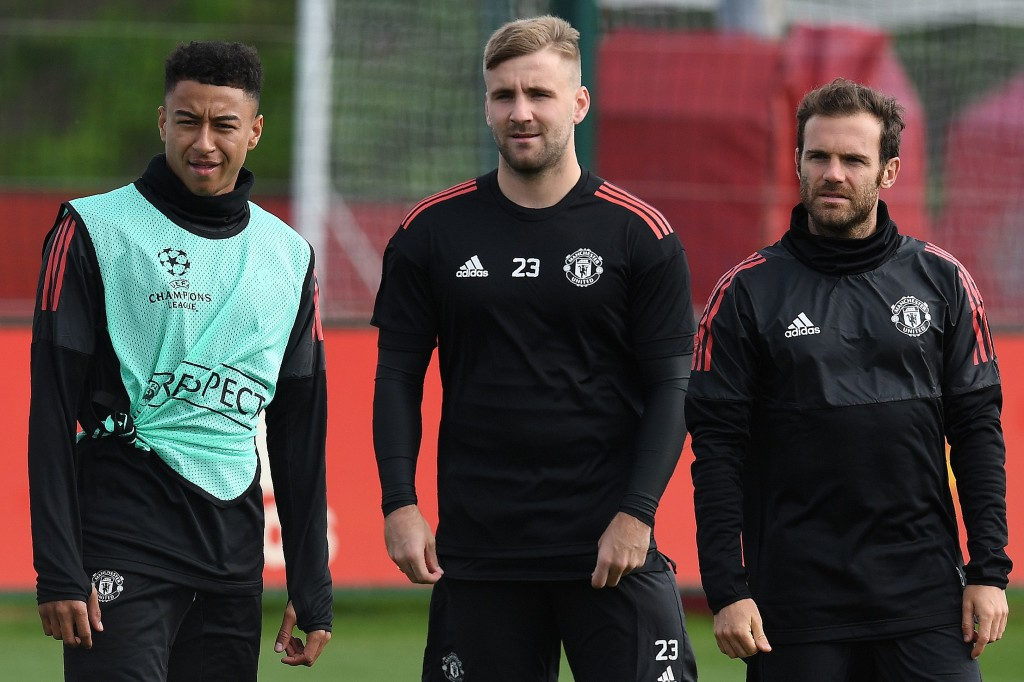 Luke Shaw in training with Man United