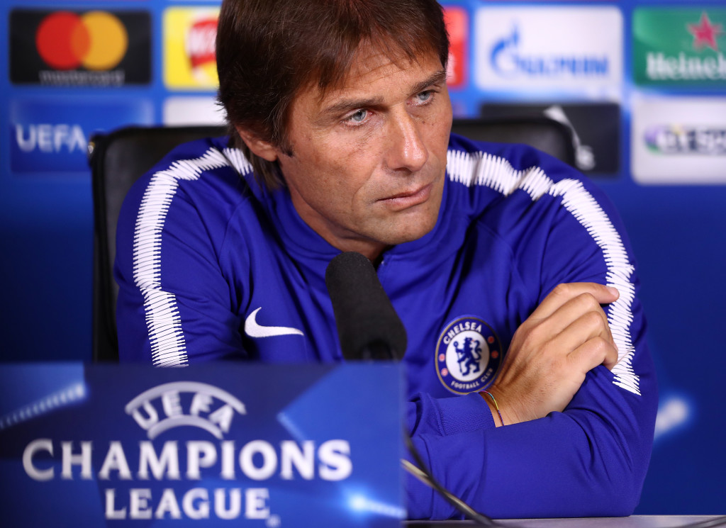 COBHAM, ENGLAND - SEPTEMBER 11: Manager Antonio Conte of Chelsea speaks to the media in a press conference ahead of thier UEFA Champions League group C match against FK Qarabag at Chelsea Training Ground on September 11, 2017 in Cobham, England. (Photo by Dan Istitene/Getty Images)