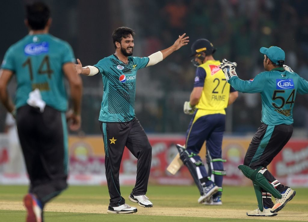 Raees celebrates after dismissing Tamim Iqbal.