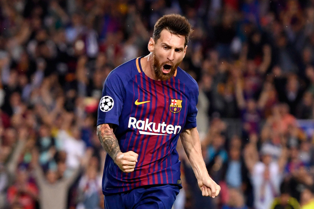 Messi celebrates the first of two goals against Juventus
