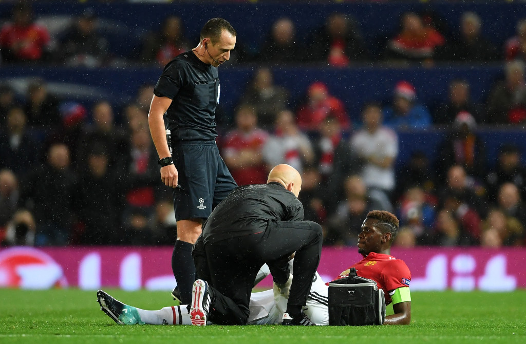 Paul Pogba receives treatment for his injured hamstring