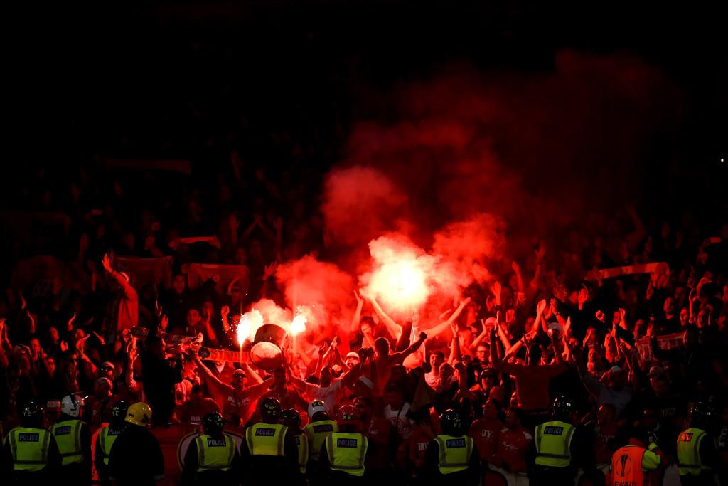 FC Koln fans let of flares after Jhon Cordoba's goal