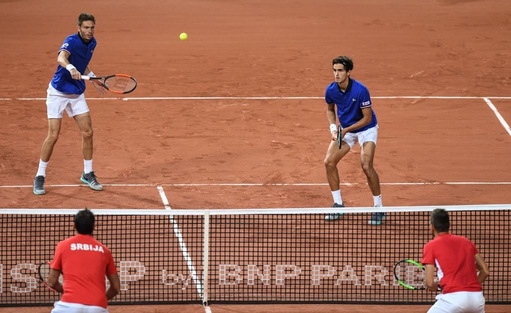 Mahut and Herbert put France 2-1 up against Serbia.