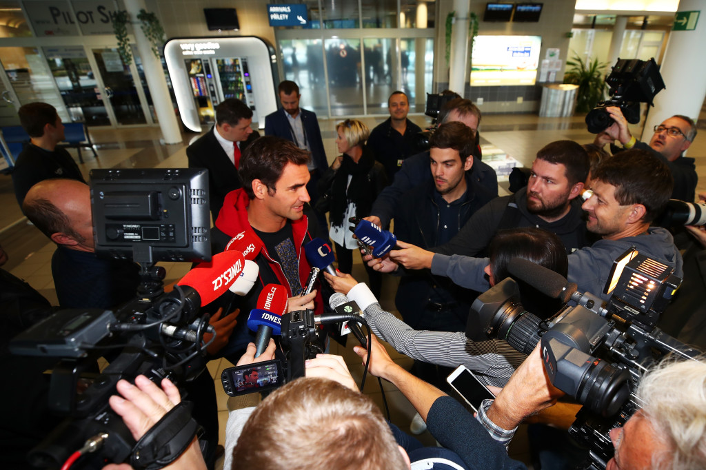 Federer mania: Roger Federer has already touched down in Prague.