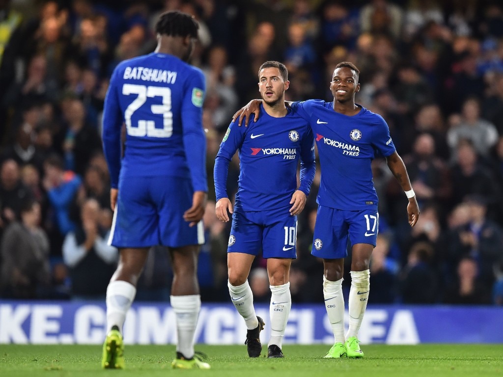 Eden Hazard celebrates with Charly Musonda