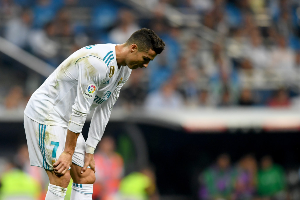 Real Madrid's Portuguese forward Cristiano Ronaldo reacts during the Spanish league football match Real Madrid CF against Real Betis at the Santiago Bernabeu stadium in Madrid on September 20, 2017. / AFP PHOTO / GABRIEL BOUYS (Photo credit should read GABRIEL BOUYS/AFP/Getty Images)