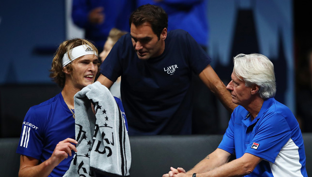 Legendary pep talk: Zverev, Federer and Borg during the Laver Cup.