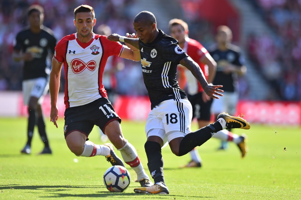 Ashley Young operating at left-back against Southampton