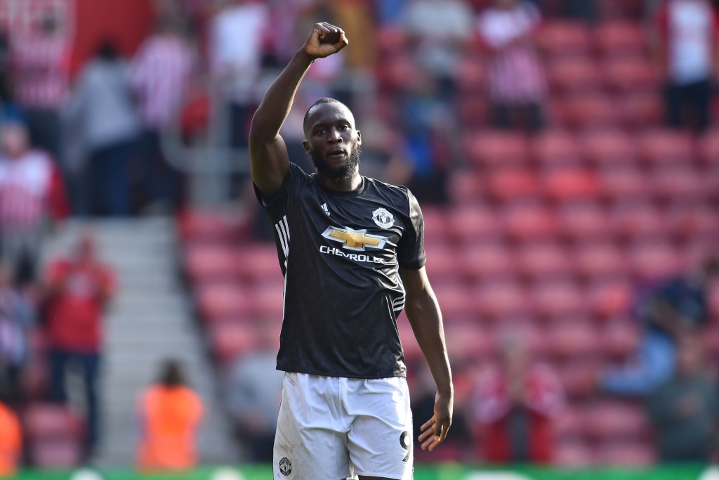 Manchester United's Belgian striker Romelu Lukaku gestures on the pitch after the English Premier League football match between Southampton and Manchester United at St Mary's Stadium in Southampton, southern England on September 23, 2017. Manchester United won the game 1-0. / AFP PHOTO / Glyn KIRK / RESTRICTED TO EDITORIAL USE. No use with unauthorized audio, video, data, fixture lists, club/league logos or 'live' services. Online in-match use limited to 75 images, no video emulation. No use in betting, games or single club/league/player publications. / (Photo credit should read GLYN KIRK/AFP/Getty Images)