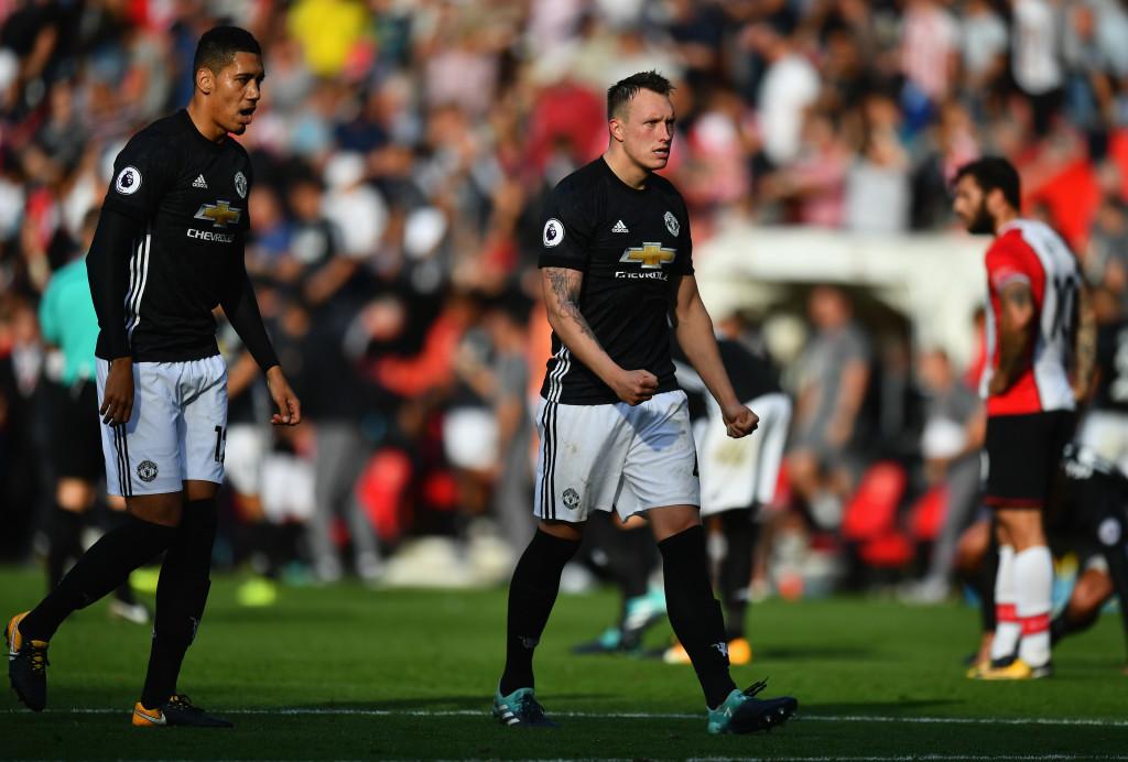 Man United defenders Phil Jones and Chris Smalling