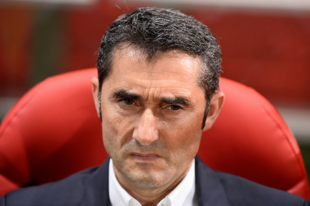 Barcelona's coach from Spain Ernesto Valverde looks on before the Spanish league football match Girona FC vs FC Barcelona at the Montilivi stadium in Girona on September 23, 2017. / AFP PHOTO / Josep LAGO (Photo credit should read JOSEP LAGO/AFP/Getty Images)