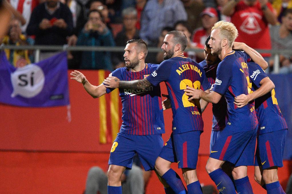 Barcelona's players celebrate