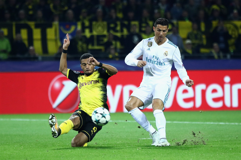 Jeremy Toljan fails to block Cristiano Ronaldo's goal.