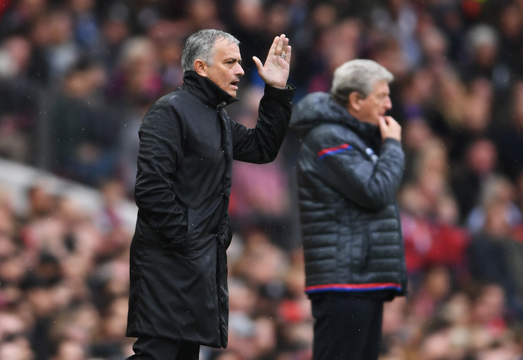 MANCHESTER, ENGLAND - SEPTEMBER 30: Jose Mourinho, Manager of Manchester United gives instruction during the Premier League match between Manchester United and Crystal Palace at Old Trafford on September 30, 2017 in Manchester, England. (Photo by Laurence Griffiths/Getty Images)