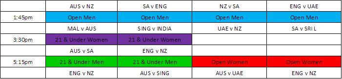 Indoor Cricket Schedule