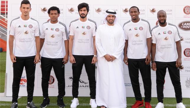 Lassana Diarra (r) with his fellow Jazira signings.