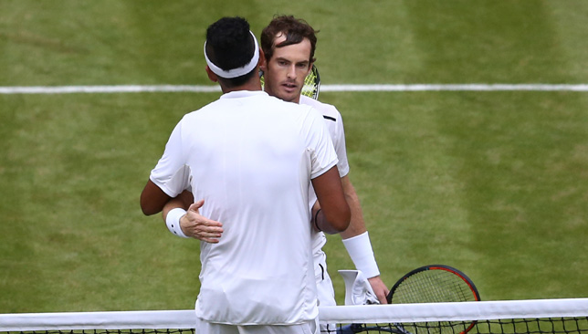 Let's hug it out: Murray and Kyrgios.