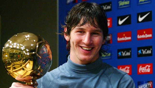 A fresh-faced Messi scooped the award back in 2005.