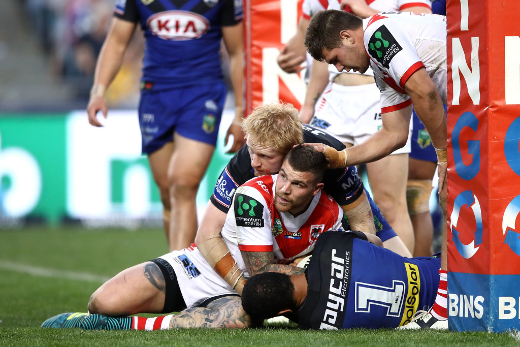 Will Hopoate pulls off a miracle try-saver on Josh Dugan.
