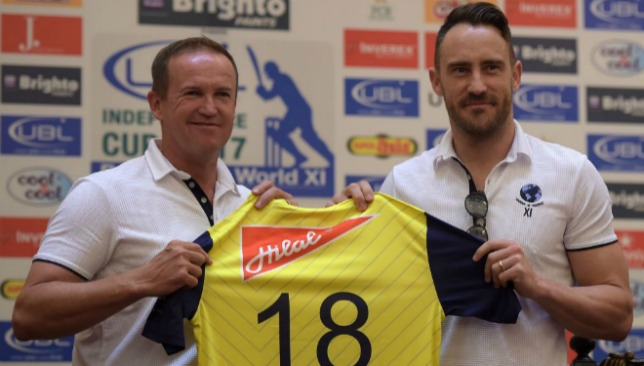 Andy Flower and Faf du Plessis unveil the playing jersey for the World XI.