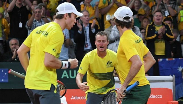 The Lleyton Hewitt-led Australians took a 2-1 lead over Belgium.