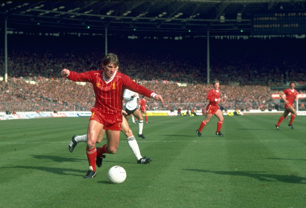 Apr 1983: Kenny Dalglish of Liverpool in action during the Milk Cup final against Manchester United at Wembley Stadium in London. Liverpool won the match 2-1. Mandatory Credit: Tony Duffy/Allsport