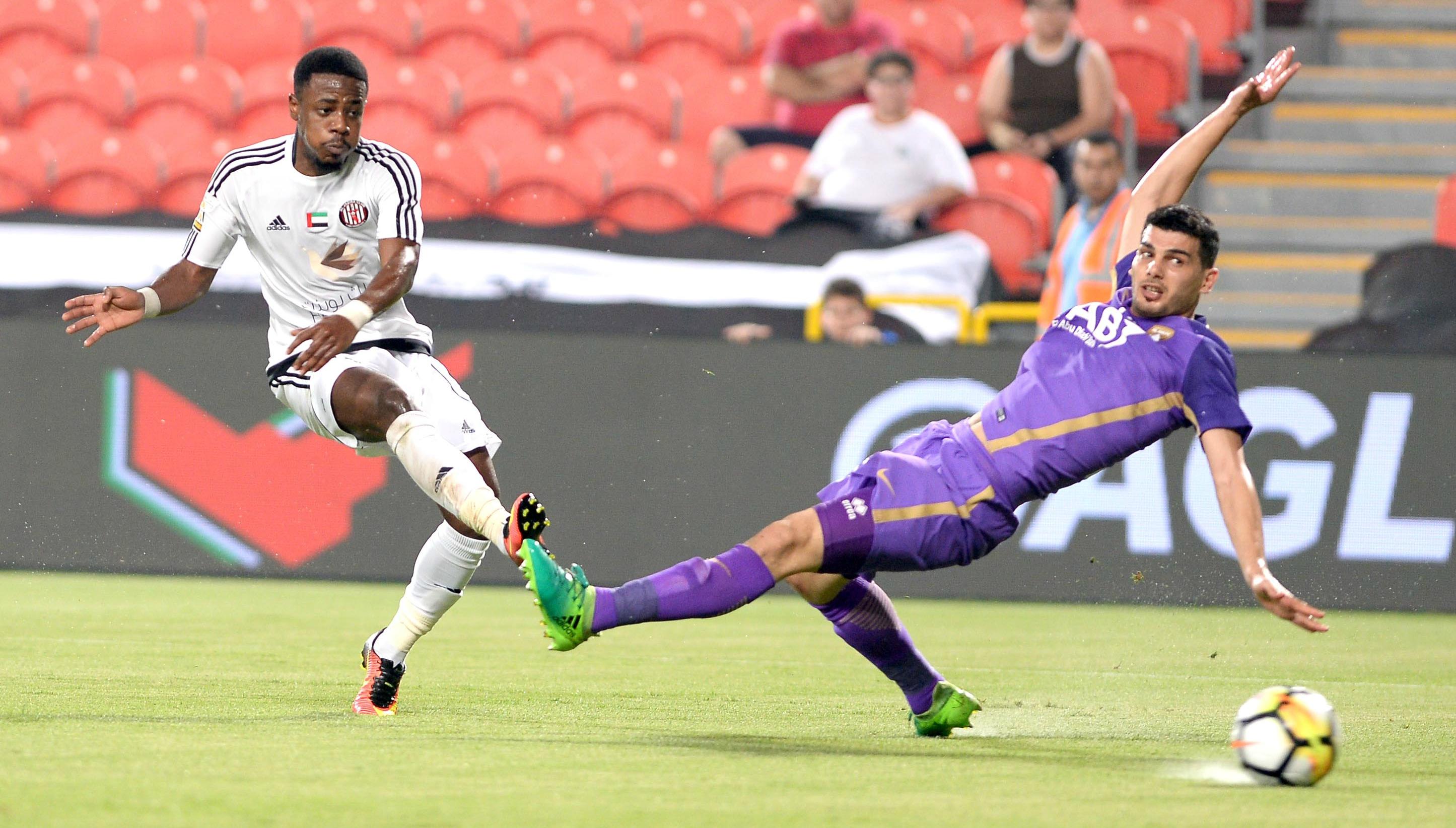 Al Jazira goalscorer Ahmed Rabeya (l)