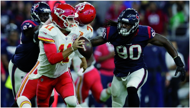 Alex is on fire: Chiefs quarterback Alex Smith carved up Houston. Picture: Getty Images.