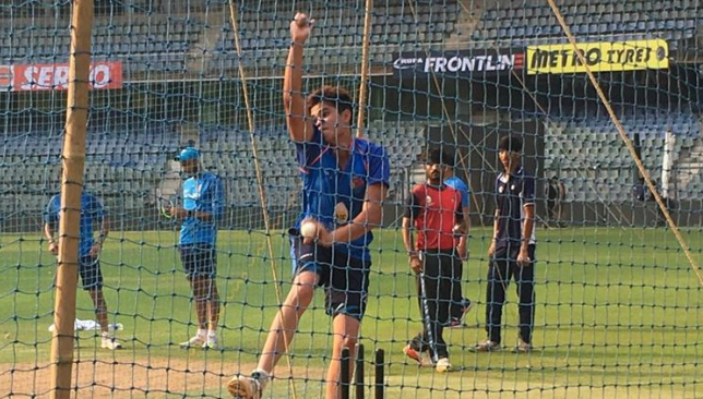 Arjun Tendukar seen in action at India's net session.