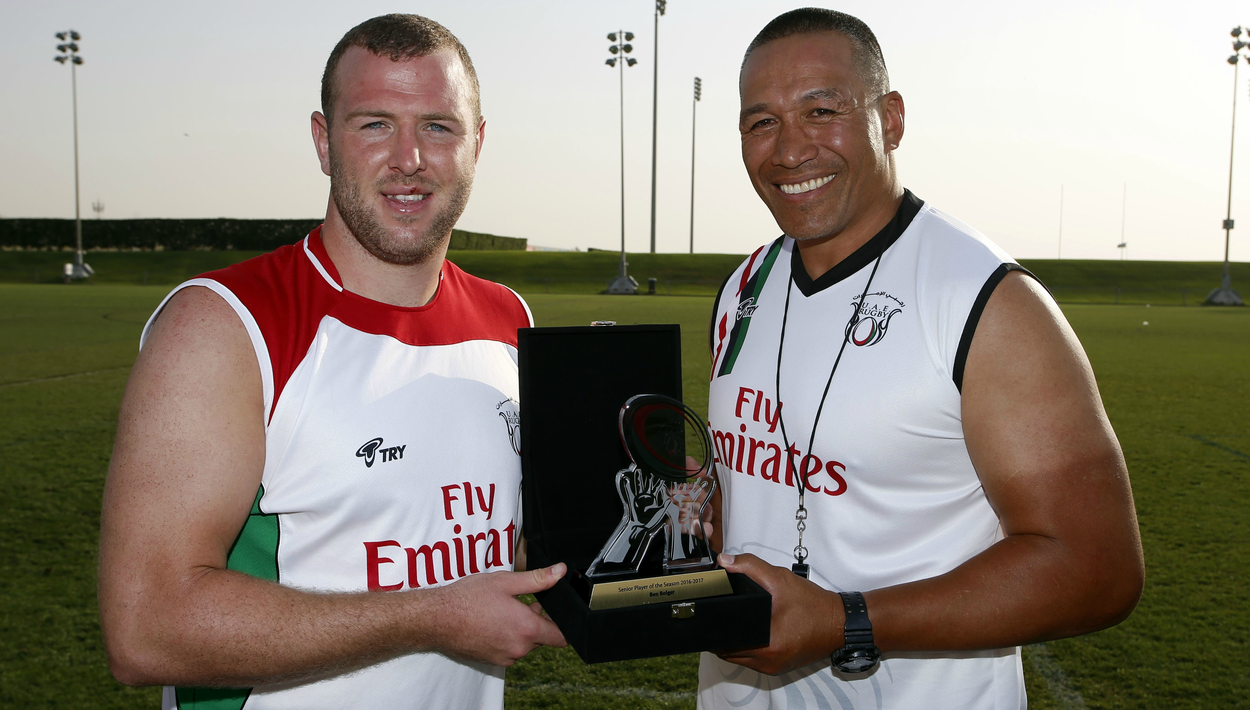 UAE coach Apollo Perelini with ex-captain Ben Bolger