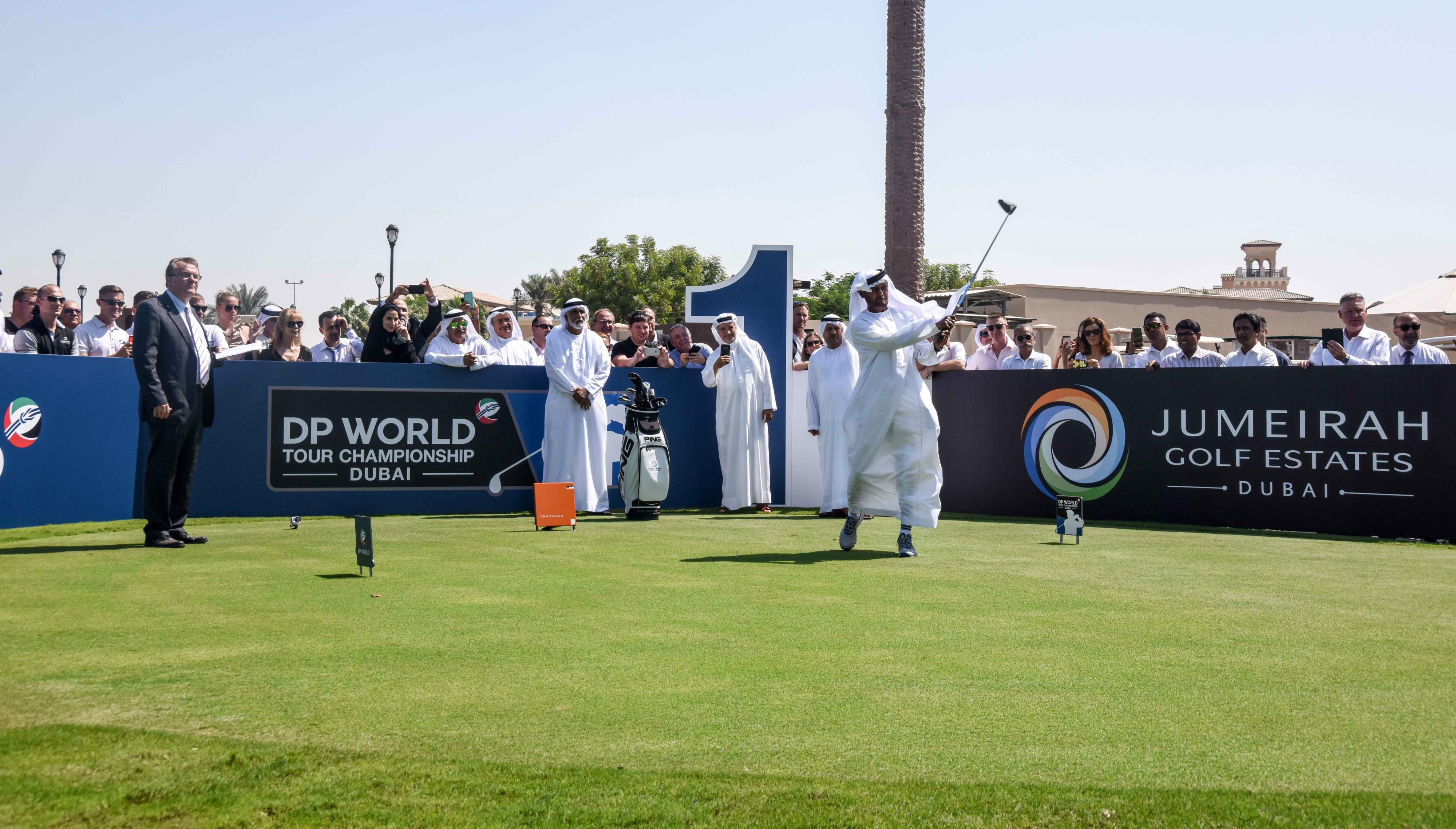 Sheikh Fahim bin Sultan Al Qasimi takes the ceremonial tee shot.