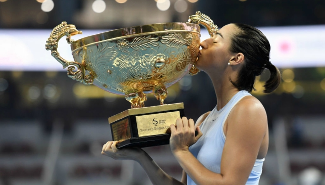 France's Caroline Garcia poses with her China Open winner's trophy.