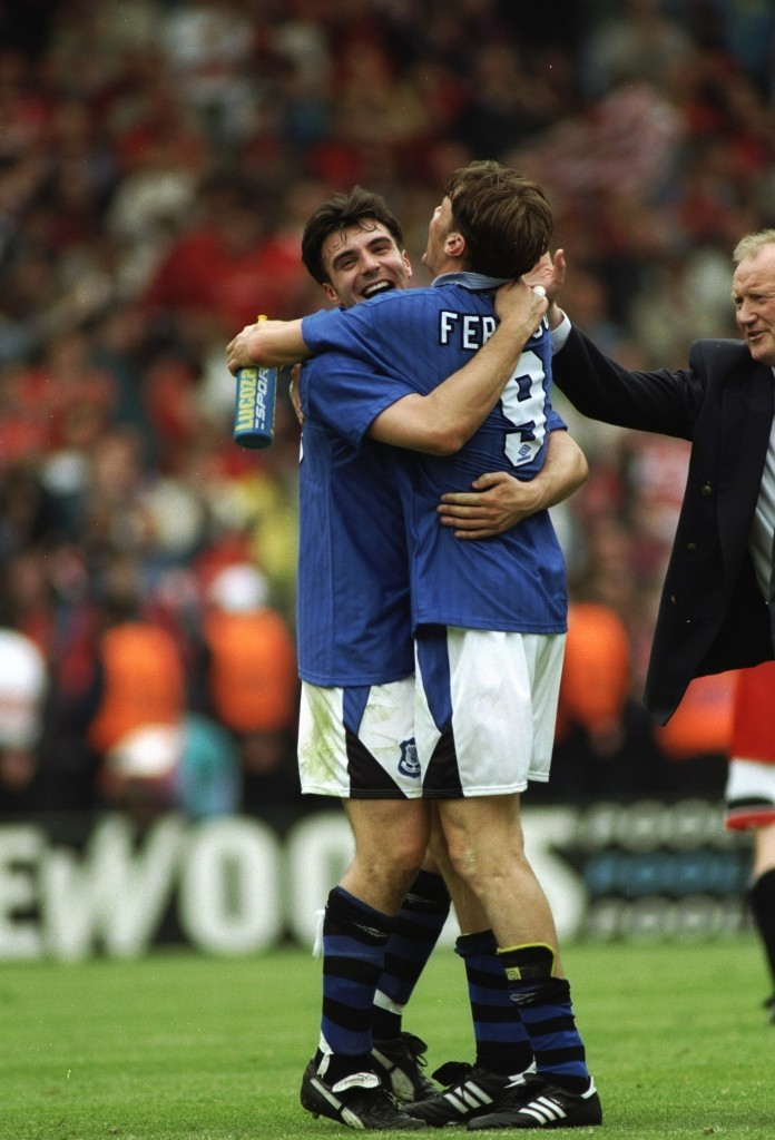 20 May 1995: David Unsworth (left) and Duncan Ferguson #9 of Everton congratulate each other after winning the FA Cup Final against Manchester United at Wembley Stadium in London. Everton won the match 1-0. Mandatory Credit: Ben Radford/Allsport