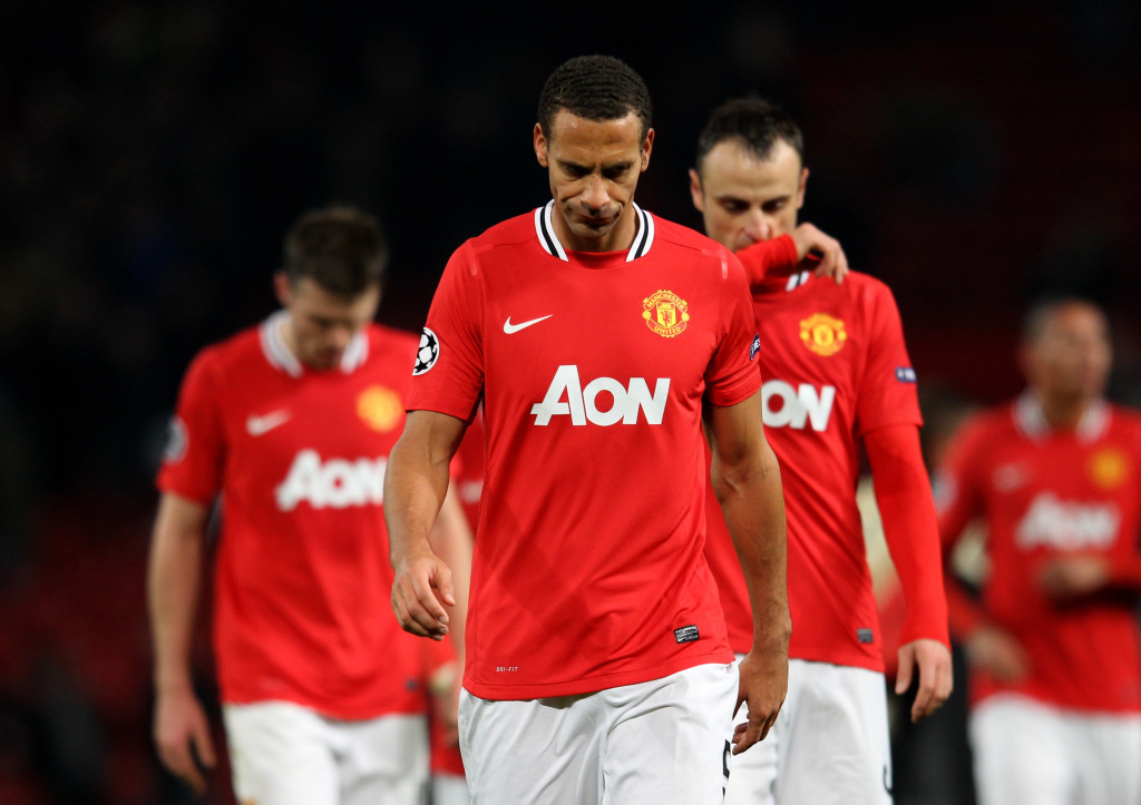United players look dejected after being dumped out by Benfica in 2012