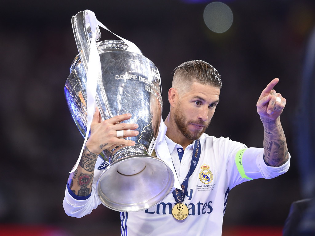 Real Madrid skipper Sergio Ramos with the Champions League trophy